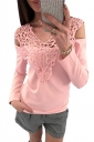 Womens Sexy Lace V-Neck Cold Shoulder Long Sleeve Plain T-Shirt Pink