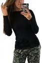 Womens Sexy Crew Neck Long Sleeve Backless Back Lace Up T-Shirt Black