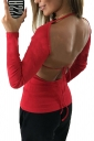 Womens Crew Neck Long Sleeve Backless Back Lace Up Plain T-Shirt Red