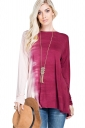 Womens Sexy Long Sleeve Backless Plus Size Plain T-Shirt Rose Red
