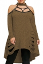 Womens Sexy Halter Cold Shoulder Cut Out Dip Hem Sweater Dress Brown