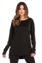 Womens Casual High Low Side Slit Long Sleeve Plain T Shirt Black