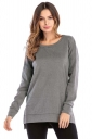 Womens Casual High Low Side Slit Long Sleeve Plain T Shirt Dark Gray