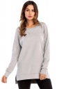Womens Casual High Low Side Slit Long Sleeve Plain T Shirt Light Gray