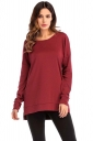 Womens Casual High Low Side Slit Long Sleeve Plain T Shirt Ruby