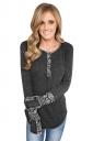 Womens Floral Long Sleeve Crew Neck Asymmetric Hem T Shirt Black