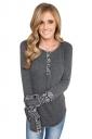Womens Floral Long Sleeve Crew Neck Asymmetric Hem T Shirt Gray