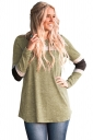 Womens Oversized Color Block Long Sleeve Printed T Shirt Army Green