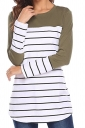Womens Contrast Color Crew Neck Button Striped T Shirt Army Green