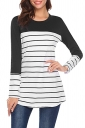 Womens Casual Contrast Color Crew Neck Button Striped T Shirt Black