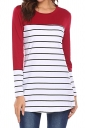 Womens Casual Contrast Color Crew Neck Button Striped T Shirt Ruby