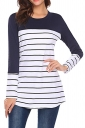Womens Contrast Color Crew Neck Button Striped T Shirt Navy Blue
