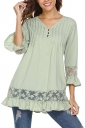 Womens Oversized Lace Sheer Ruffle Hem V Neck Plain Blouse Green