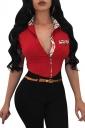 Womens Trendy Turndown Collar Plaid Short Sleeve Button Blouse Red