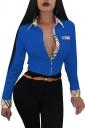 Womens Trendy Turndown Collar Plaid Long Sleeve Button Blouse Blue