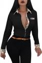 Womens Trendy Turndown Collar Plaid Long Sleeve Button Blouse Black