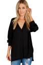 Womens Sexy High Low V Neck Long Sleeve Side Slit Plain Blouse Black