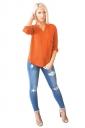 Womens Chiffon High Low V Neck Long Sleeve Pocket Plain Blouse Orange