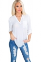Womens Chiffon High Low V Neck Long Sleeve Pocket Plain Blouse White