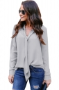 Womens Elegant Cuffed Sleeve V Neck Front Tie Chiffon Blouse Gray