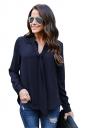 Womens Elegant Cuffed Sleeve V Neck Front Tie Chiffon Blouse Navy Blue