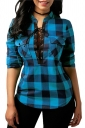 Womens Sexy Lace Up Pocket Stand Neck Curved Plaid Blouse Blue
