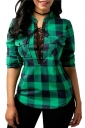 Womens Sexy Lace Up Pocket Stand Neck Curved Plaid Blouse Green