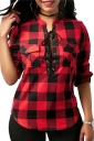 Womens Sexy Lace Up Pocket Stand Neck Curved Plaid Blouse Red