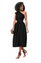 Womens Sexy One Shoulder Bandage Waist Fit-And-Flare Midi Dress Black