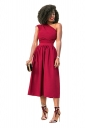 Womens Sexy One Shoulder Sleeveless Fit-And-Flare Plain Midi Dress Red
