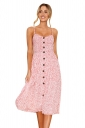Sexy Backless Pocket Polka Dot Printed Spaghetti Strap Dress Pink