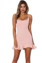 Womens Sexy Spaghetti Strap Ruffle Hem Backless Tank Dress Light Pink