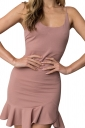 Womens Sexy Spaghetti Strap Ruffle Hem Backless Plain Tank Dress Pink