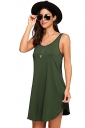 Women Casual Crew Neck Sleeveless Plain Loose Tank Dress Army Green
