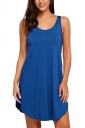 Women Casual Crew Neck Sleeveless Cotton Plain Loose Tank Dress Blue