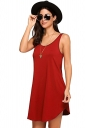 Women Casual Crew Neck Sleeveless Cotton Plain Loose Tank Dress Orange