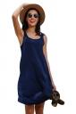 Women Casual Crew Neck Sleeveless Plain Loose Tank Dress Navy Blue