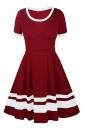Womens Crew Neck Short Sleeve Stripe Patchwork Plain Skater Dress Ruby