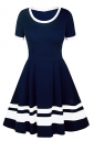 Womens Short Sleeve Stripe Patchwork Plain Midi Skater Dress Black