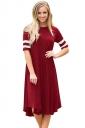 Womens Casual Half Sleeve Striped Ruffle Crew Neck Midi Dress Ruby