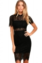 Womens Bodycon Sheer Short Sleeve Scalloped Hem Split Lace Dress Black