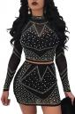 Womens Sexy Rhinestone Sheer Long Sleeve Two Piece Dress Black