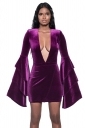Womens Sexy Flare Sleeve Deep V Neck Plain Bodycon Dress Purple