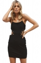 Womens Sexy Eyelet Lace Up Cut Out Bodycon Mini Slip Club Dress Black