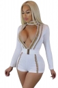 Womens Sexy Chocker Deep V Long Sleeve Waist Belt Fitting Romper White