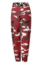 Womens Oversized Button Pocket Camouflage Pants Ruby