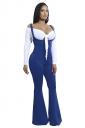 Womens High Waist Wide Legs Slit Loose Leisure Pants Sapphire Blue