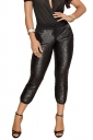 Womens Casual Sequin Drawstring Pocket High Waisted Capri Pants Black
