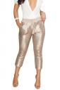 Womens Casual Sequin Drawstring Pocket High Waisted Capri Pants Gold