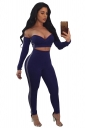 Womens Sweetheart Neckline Long Sleeve Crop Top&Leggings Suit Blue